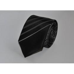 Hedvábná kravata ADRIANO GUINARI (černo-šedá proužkovaná)