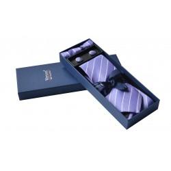 Fialová kravata s proužky v dárkovém balení Vernon