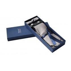 Hnědo - šedá kravata v dárkovém balení Vernon