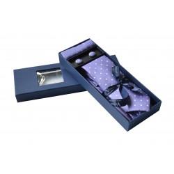 Fialová kravata s puntíky v dárkovém balení Vernon