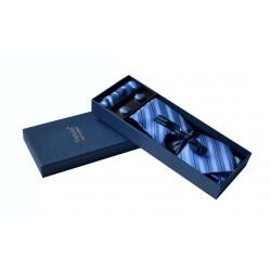 Modrá kravata s proužky v dárkovém balení Vernon