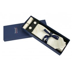 Krémová kravata s proužky v dárkovém balení Vernon