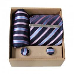 Modrá kravata s proužky v dárkovém balení MARROM