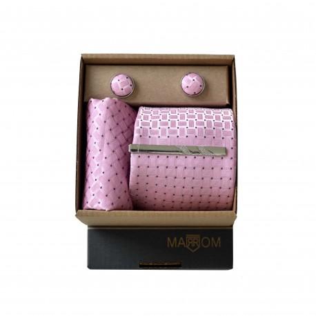 Růžová kravata v dárkovém balení MARROM