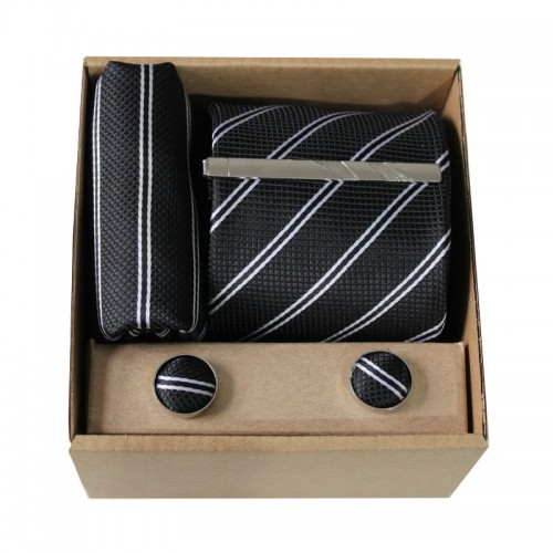 Černá kravata s proužky v dárkovém balení MARROM