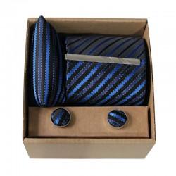 Černá kravata s modrými proužky v dárkovém balení MARROM