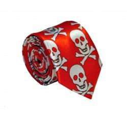 Crazy kravata (červená s lebkami)