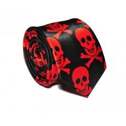Crazy kravata (červeno - černé lebky)