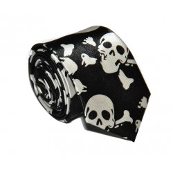 Crazy kravata (bílo - černé lebky)