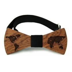 """Dřevěný motýlek vzor """"svět"""""""
