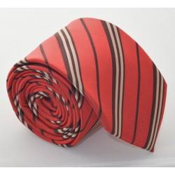 Kravata VERNON (červená-zlaté proužky)
