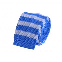 Pletená kravata - bílá s proužky