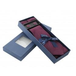 Vínová kravata s jemnými tečkami v dárkovém balení Vernon