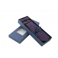 Fialová kravata se vzorem v dárkovém balení Vernon