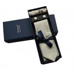 Smetanová kravata se vzorem v dárkovém balení Vernon