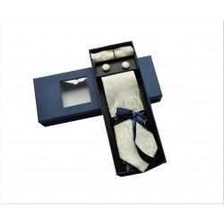 Béžová kravata se vzorem v dárkovém balení Vernon