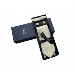 Krémová kravata se vzorem v dárkovém balení Vernon