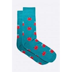 Pánské ponožky MORE tyrkysové se smajlíky 39/42