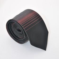 Černá kravata s proužky 4 ANGELO di MONTI