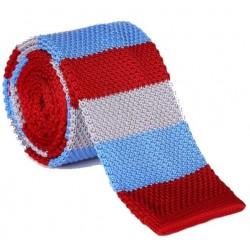 Pletená kravata MARROM - prúžky 01