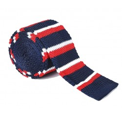 Pletená kravata MARROM - proužky 02