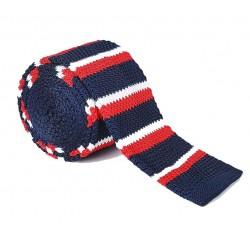 Pletená kravata MARROM - prúžky 02