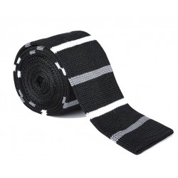 Pletená kravata MARROM - prúžky 04
