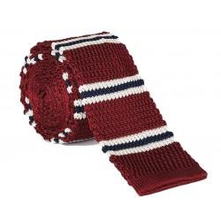 Pletená kravata MARROM - proužky 06