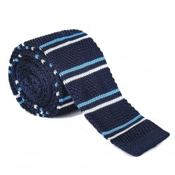 Pletená kravata MARROM - proužky 07