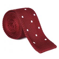 Pletená kravata MARROM - vínová s puntíky