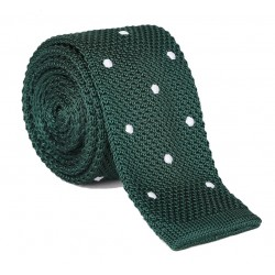 Pletená kravata MARROM - zelená s puntíky