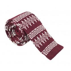 Pletená kravata MARROM - tmavě červená se vzorem