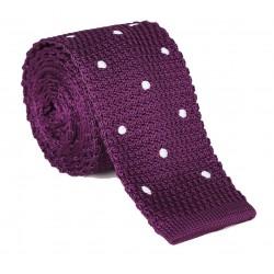 Pletená kravata MARROM - fialová s puntíky