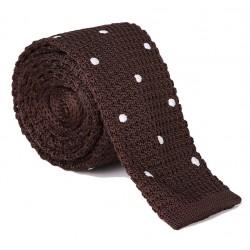 Pletená kravata MARROM - hnedá s bodkami