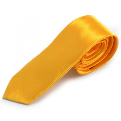 Jednobarevná SLIM kravata žluto/zlatá