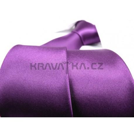 Jednobarevná SLIM kravata (fialová)