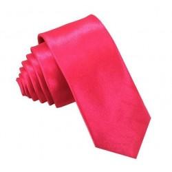 Růžová kravata SLIM - lesklá