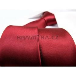 Jednobarevná SLIM kravata - vínová
