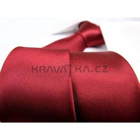 Jednobarevná SLIM kravata (vínová)
