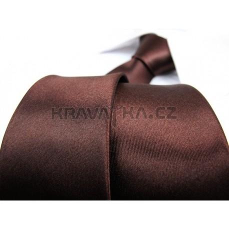 Jednobarevná SLIM kravata (hnědá)