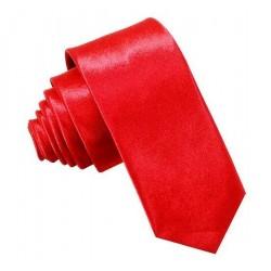 Červená kravata SLIM - lesklá