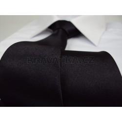 Čierna kravata SLIM - lesklá