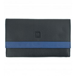 Dámská kožená peněženka Słoń Torbalski černo - světle modrá