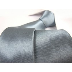 Šedo/modrá kravata SLIM - lesklá
