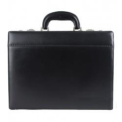 Kožený diplomatický kufřík MARCO - černý s šedým kováním