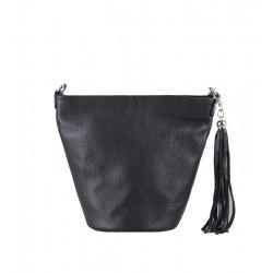 Italská kožená kabelka typu shopper - černá