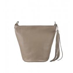 Italská kožená kabelka typu shopper - béžová