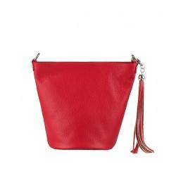Italská kožená kabelka typu shopper - červená
