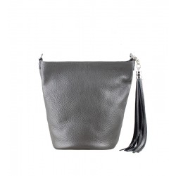 Italská kožená kabelka typu shopper - šedá