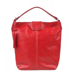 Italská kožená kabelka typu shopper červená